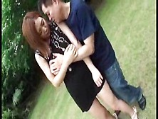 Japanese Girl With A Guy Fucking Outdoor