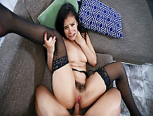 Violet Starr In Stockings Gets Her Hairy Pussy Plowed