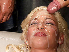 Hardcore Blonde Has Her Face Covered In Jizz By Numerous Guys