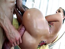 Nice Slut With Ponytail And Oiled Ass Cheeks Enjoys Cock Riding