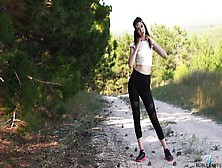 Roadside Masturbation Video Featuring Naughty Young Brunette Trasy