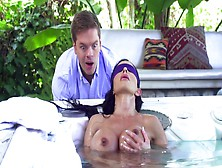 Jewels Jade Has Blindfolded Jacuzzi Fuck With Son's Buddy
