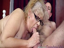 Granny In Glasses Sucks Huge Dick