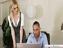Horny Blond Office Manager Anny Aurora Seduces Handsome I. T. Guy