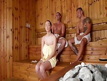 Shy Chick With Unreal Monstrous Titties And 2 Studs In Sauna