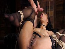 Ebony In Bondage Anal Plugged And Fisted