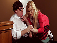 Clothed Blonde Schoolgirl Drives Her Teacher Crazy With Cfnm