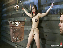Sub Girl Tied In Crotch Rope Bondage And Tortured With Clothespi