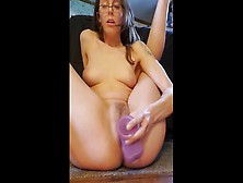 Hot Brunette Squirts Using A Dildo