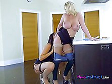 Two Lesbian Milfs Are Licking Each Other'S Big Ass,  For The Firs