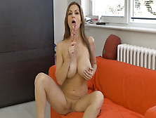 Busty Cougar Polishes Clitoris With Fingers And Takes Glass Dild