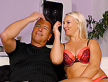 Handsome Guy's Massive Dong Makes A Chubby Blonde Moan Softly