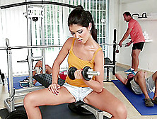 In The Gym She Does A Workout Then Gets Gangbanged