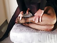 Fuck And Squirt Black Nylon Feet
