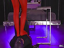 Woman In Red Pantyhose Is Having A Real Blast While Humiliating Her New Sex Slave