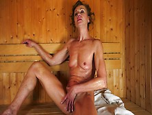 A Hairy Granny Is Getting Licked And Fucked In A Sauna By A Teen