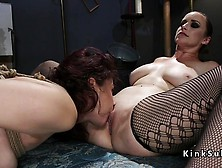 Redhead Slave Ass Whipped In Threesome