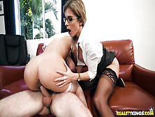 Superb Milf In Glasses Loves To Fuck With Young Couple