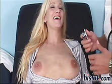 Saucy Blonde Has Her Bald Cunt Penetrated