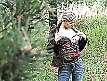 Amateur Chick Unzips Her Jeans To Piss Near The Park Tree