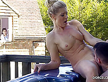 Married Blonde Woman With Big Tits,  India Summer Is Cheating On Her Husband,  In The Backyard