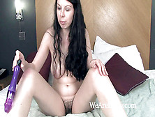 Emily Winters Enjoys Her Wooly Honeypot While In Couch