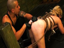 Blond Lilly Bound In Dungeon Toyed Rough Before Facial