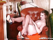 Sexy Blonde Wanks Off In Vintage Nylons And Garters