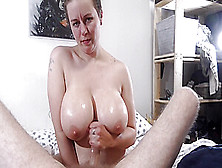 Sloppy Handjob With Cum On Big Tits