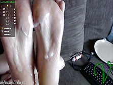 Ms.  Vixen Gives An Awesome Footjob And Gets Cum On Her Feet