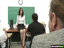 Mouth Watering Teacher Sarah Shevon Gets Fucked By Several Stude
