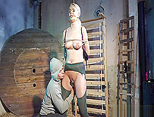 Tall Euro Cums While Bound And Dominated