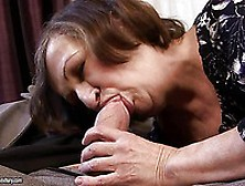 Slutty Granny Eve Tickler Gives Blowjob To Clothed Man On The Co